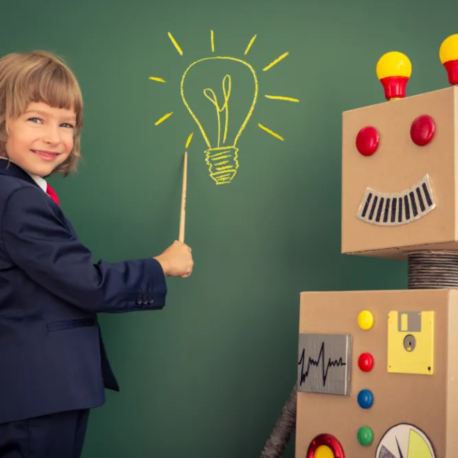Girl lightbulb robot blackboard CROP